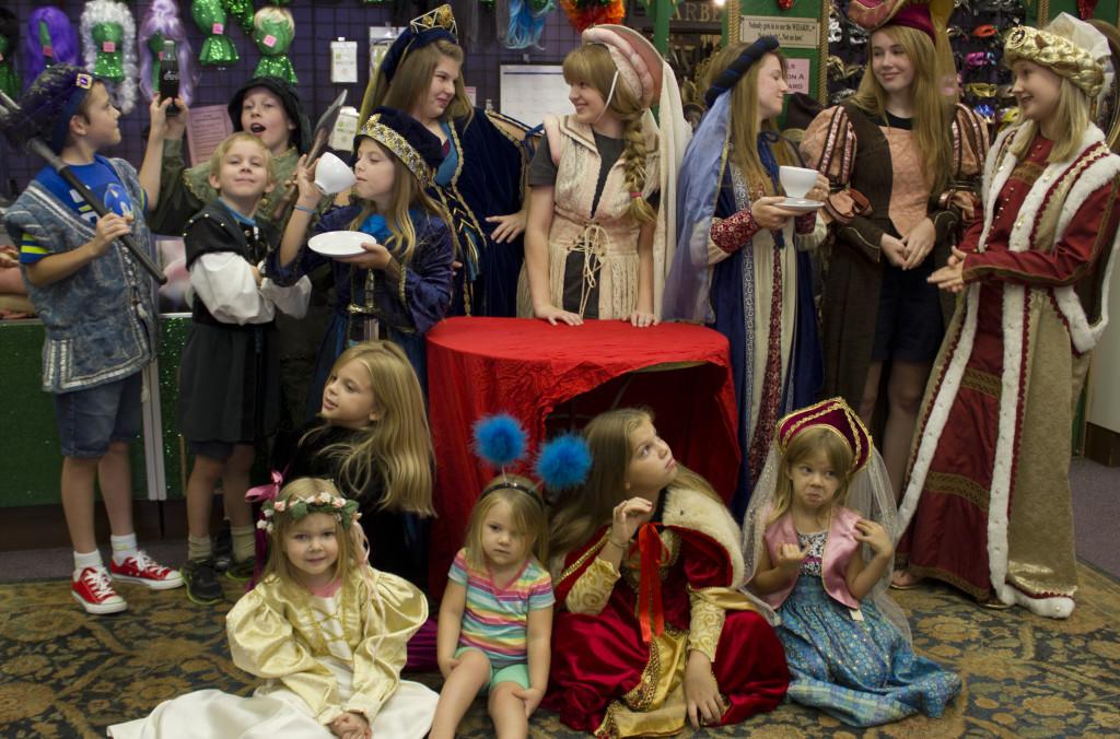 Tea, soda pop (look for it!), and kids having great fun at Rose Costumes