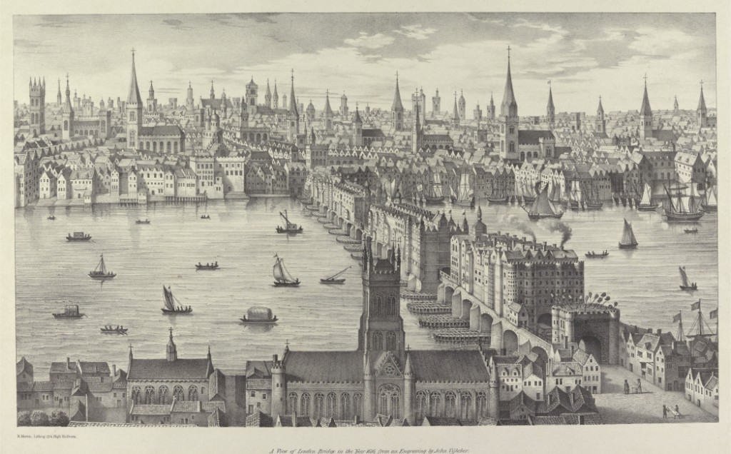 London Bridge in 1616 as seen from Southwark with the famous spiked heads visible