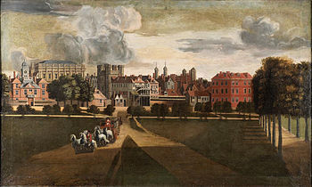 Whitehall about 1675 from the west in St. James Park