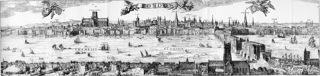 Claes Visscher's 1616 panorama of London featuring London bridge
